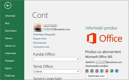 Contul Microsoft asociat cu Office apare în fereastra Cont unei aplicații Office