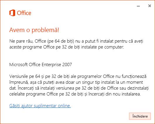Nu se pot amesteca versiuni de Office pe 32 de biți și pe 64 de biți