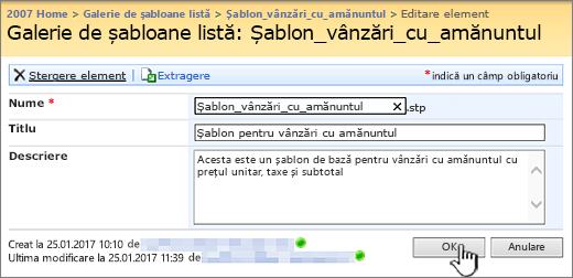 Șablon de listă dialog Editare
