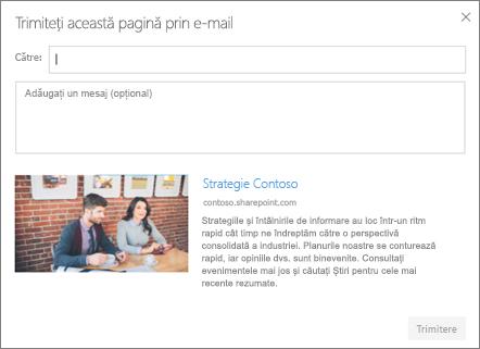 Caseta de dialog Trimitere prin e-mail