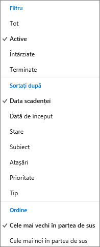 Alegeți cum să filtrați, să sortați și să ordonați activitățile în lista Activități Outlook.com