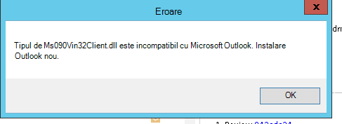 Eroare de blocare Outlook