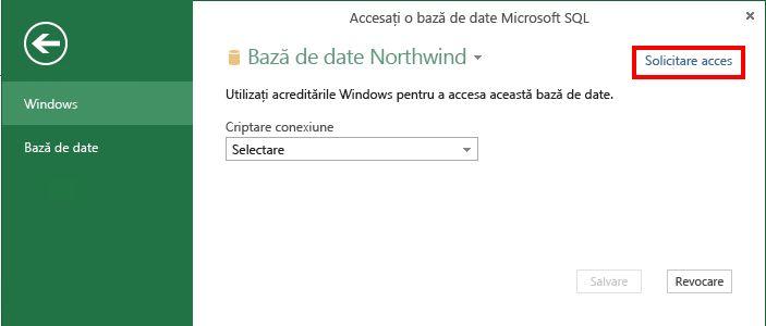 Solicitarea accesului la o sursă de date