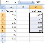 Valori originale în coloana A și valori unice din coloana A create în coloana C