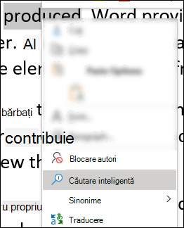 Meniul contextual din Word cu căutare inteligentă selectată.