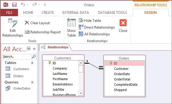 Fereastra Relații din Access