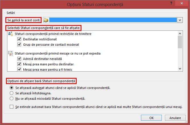 Opțiuni de sfat corespondență Outlook