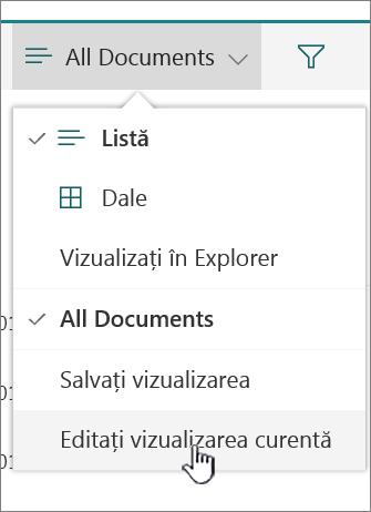 Meniul de Opțiuni vizualizare cu Editare vizualizare curentă evidențiată