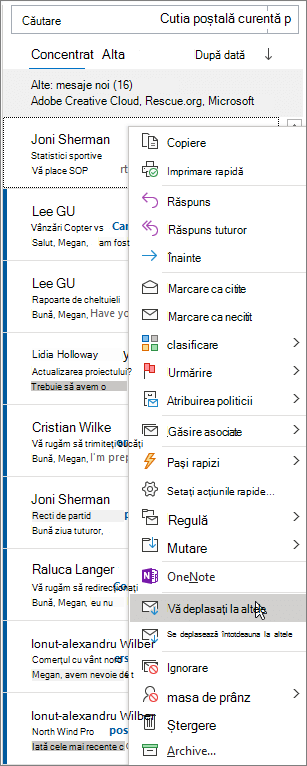 Mesaje prioritare din Outlook