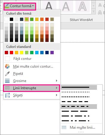 Afișează stiluri de linii diferite în Office