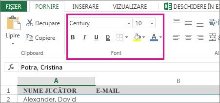 Comenzi de formatare font