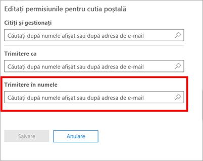 Captură de ecran: Permiteți unui alt utilizator să trimită e-mail în numele acestui utilizator