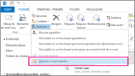 Meniul E-mail nedorit din Outlook 2013