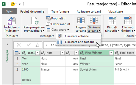Power Query > Editor interogare > Eliminare coloane