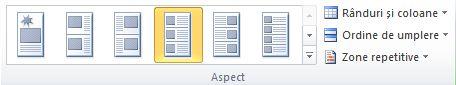 Opțiuni aspect îmbinare catalog