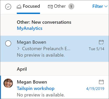 Outlook pe vizualizarea Inbox web