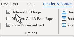 Opțiuni din panglica antet cu prima pagină diferită selectată