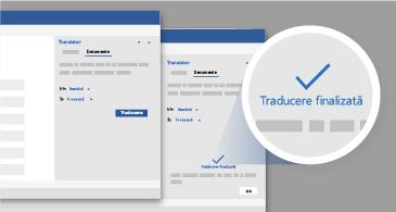 Două versiuni ale panoului Translator și o vizualizare mărită a notificării de finalizare