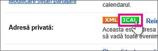 calendar google - crearea unui ical privat