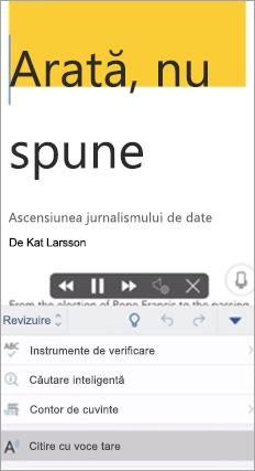 Afișează Citirea cu voce tare în aplicația Word