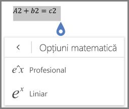 Afișarea formate de ecuații matematice