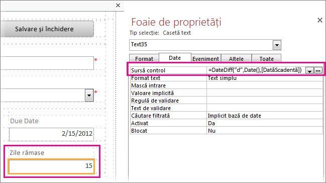 Introducerea funcției DateDiff în proprietatea Sursă control a unei casete text.