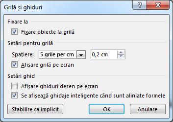 Grila PowerPoint și caseta de dialog Ghidaje