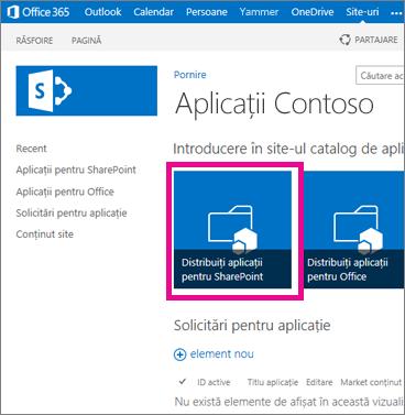 Dala Distribuiți aplicații pentru SharePoint pe un site Catalog de aplicații
