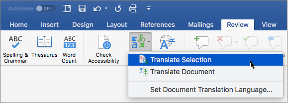 Fila Revizuire cu opțiunea Traduceți selecția evidențiată