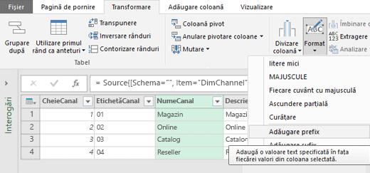 Power Query - Adăugarea unui prefix/sufix într-o coloană de text