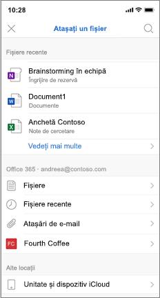 Ecran mobil cu lista de fișiere recente și iCloud
