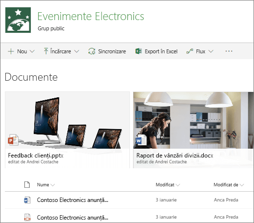 Bibliotecă de documente SharePoint