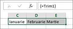 O constantă denumită utilizată într-o formulă de matrice
