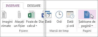 Vizualizați șabloanele disponibile în OneNote.