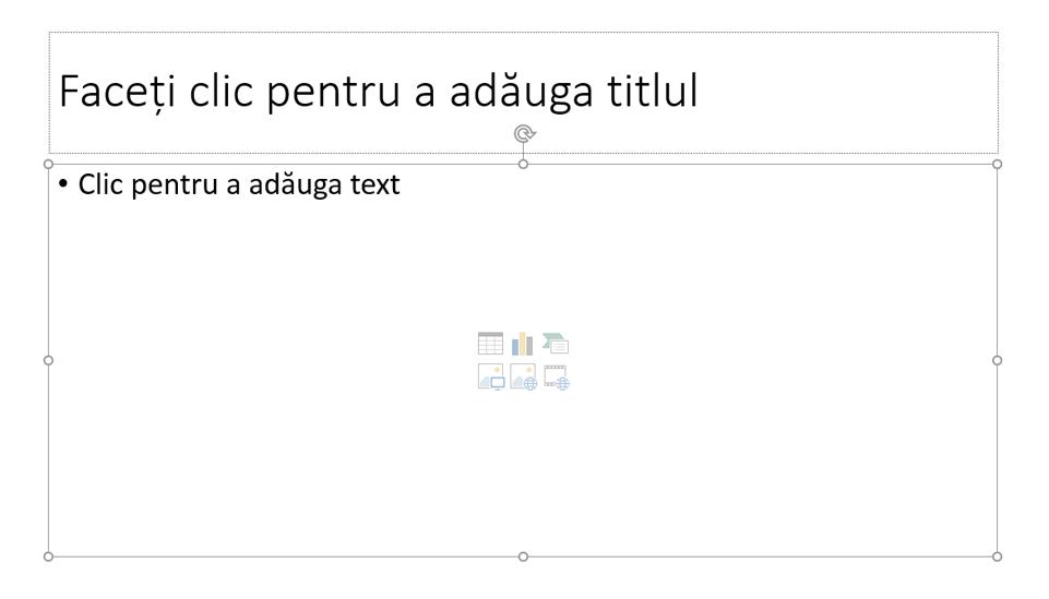 Diapozitiv cu tema pe care o alegeți. Adăugați un titlu în caseta text sus.