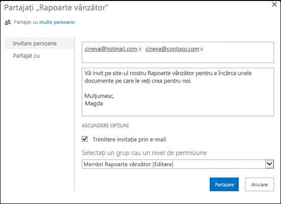 Imaginea casetei de dialog Partajare pentru un site populat cu nume de utilizator pentru utilizatorii externi.