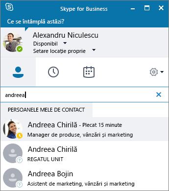 Captură de ecran a ferestrei Skype for Business în timp ce se caută o persoană de contact de adăugat.
