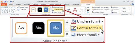 Sub Instrumente de desen, fila Format din panglica PowerPoint 2010.