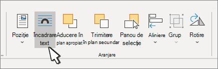 Format imagine > aranjare panou cu textul încadrat selectat