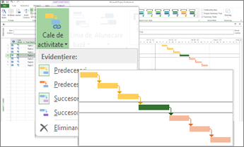 Task Path menu and Gantt bars with task paths highlighted