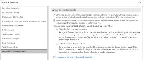Secțiunea Opțiuni de confidențialitate din Setările Centrului de autorizare din Office pentru Windows