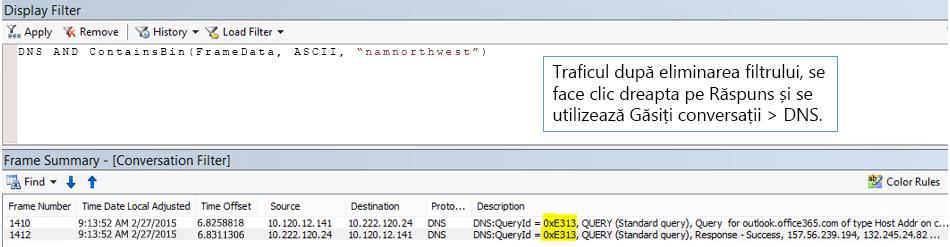 Urmărire filtrată de Găsire conversații, apoi de DNS.