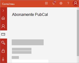 Captură de ecran a portalului contului meu