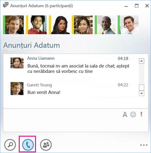 Captură de ecran cu butonul de apel dintr-o sală de chat