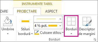 Butonul Bordură din Instrumente tabel