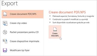 Salvarea unei prezentări ca PDF