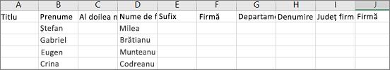 Exemplu de fișier .csv Outlook deschis în Excel