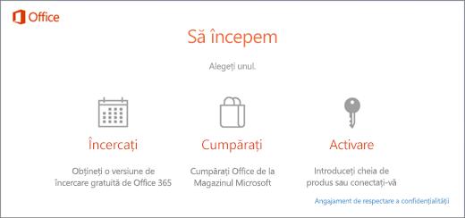 Captură de ecran care arată opțiunile implicite de încercare, cumpărare sau activare pentru un PC care are Office preinstalat.