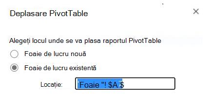 Mutarea unui tabel Pivot