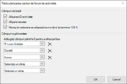 Particularizarea setărilor de configurare pentru Card